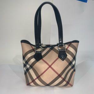 Burberry plaid & black canvas leather shoulder bag